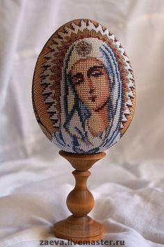 Яйца ручной работы. Ярмарка Мастеров - ручная работа Яйцо из бисера. Икона Божией Матери Умиление.. Handmade.