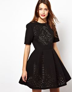 Image 1 of ASOS Extreme Skater Dress With Laser Cut Outs