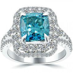 5.06 Carat Fancy Blue Cushion Cut Diamond Engagement Ring 14k White Gold