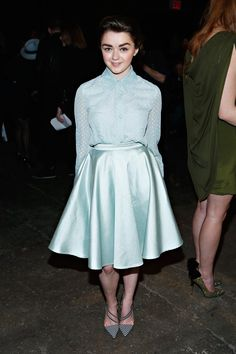 Pin for Later: 21 Stars 21 and Under Who Aren't Too Young For Fashion Maisie Williams, 17 Game of Thrones actress Maisie Williams pairs pretty pastel separates with strappy sandals and looks totally modern.