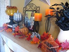 Change out candles on mantle for bright orange ones for Halloween