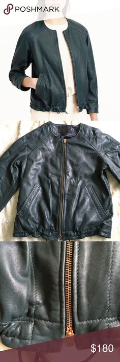 J crew collection leather jacket Rally nice leather jacket. Great quality. The zipper and the buckle is rose gold, I absolutely love it! I love rose gold. No stain or tear, their is a little rubbing on the top corner. J. Crew Jackets & Coats