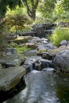 Aquascape is the leading manufacturer of water features, water garden, pondless fountains, and pond products. Get your water feature from Aquascape! Backyard Water Feature, Ponds Backyard, Backyard Waterfalls, Garden Ponds, Garden Stream, Koi Ponds, Backyard Stream, Pond Design, Landscape Design