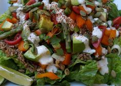 The Simple Veganista: 'Raw'some Taco Salad with Lime Cilantro 'Sour Cream'