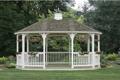Elongated hexagon gazebo design in white