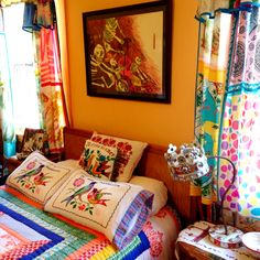 Our guest room #guestroom #mexican #DIY #curtains #colorful