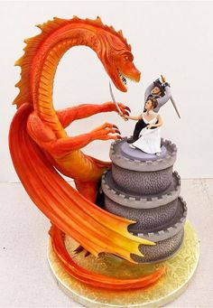 The Love Pinch Bridal Couple Wedding Cake Topper - Ideal Wedding Ideas Dragon Wedding Cake, Crazy Wedding Cakes, Crazy Cakes, Unique Cakes, Creative Cakes, Beautiful Cakes, Amazing Cakes, Bolo Naruto, Geek Wedding