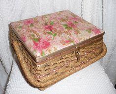 Vintage Sewing Box Pink Floral