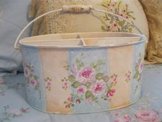 Hand Painted Bucket!!!  - just added this four compartment bucket to my ebay page great for storing items very useful!!  -  $34.50  -  http://www.ebay.com/itm/390921748974?ssPageName=STRK:MESELX:IT&_trksid=p3984.m1555.l2649