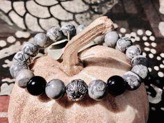 Handgefertigtes Herren-Armband aus Landscape Jaspis und Onyx mit Kugel als Silber 925. Ein echtes Unikat. Kugel, Land Scape, Beaded Bracelets, Jewelry, Jewlery, Bijoux, Pearl Bracelets, Schmuck, Jewerly