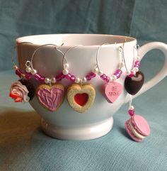 Valentine Sweets Wine Charms Set of 6 Coffee Mug by KatarooClay