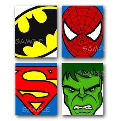 SUPER HEROS Artwork ALL 4 8x10 Art Prints  Batman Superman Spiderman Hulk
