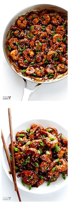 Easy Hoisin Shrimp -- ready to go in 15 minutes, and made with a delicious 3-ingredient sauce | gimmesomeoven.com