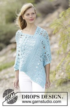 """Sky Love - #crochet DROPS poncho with lace pattern in """"Paris"""". Free pattern by DROPS Design"""
