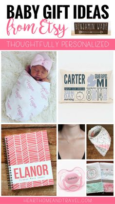 Looking for a unique and thoughtful baby gift? These personalized gift ideas from Etsy would make perfect baby gifts at your next baby shower or Sip & See.