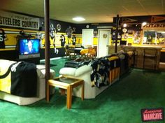 Steelers Man Cave | ... , and an innumerable amount of Pittsburg Steelers memoribilia. Enjoy