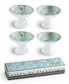 Gorgeous 60's inspired styling makes these footed dipping dishes the star of your table setting. Made of fine porcelain with delicate 24 karat gold accents throughout. Fill with your favorite olive oil or tidbits. Arabesque mugs and plates are also available.  * Set of 4 assorted patterns. 2.5