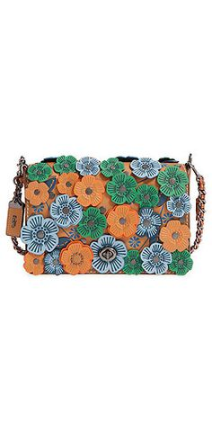 Coach 'Dinky' Flower Appliqué Leather Crossbody Clutch Bag