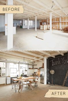 This is the dream, from raw - to livable. While still keeping those beautiful raw materials present such as the exposed structural details in the ceiling. It's so perfect