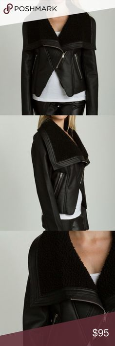 Black Faux Leather Jacket Chic Faux Leather Jacket with fur lining TCEC Jackets & Coats