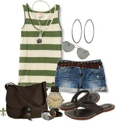 """""""Surf Stripe Tank"""" by hatsgaloore on Polyvore"""