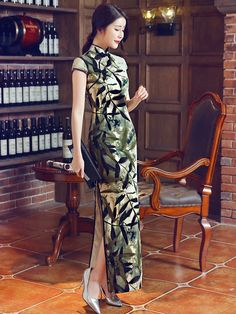 Split Ankle-length Qipao / Cheongsam Prom Dress in Leaf Print