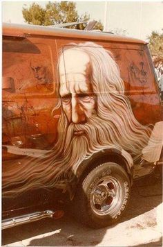 Wizard mural on custom 70's van