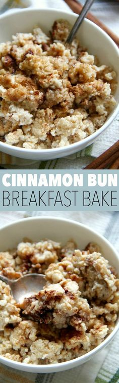 Cinnamon Bun Breakfast Bake -- enjoy the taste and texture of a traditional cinnamon bun without all the added sugar and saturated fat! The gluten-free and vegan breakfast bake is a healthy and delicious way to start the day. || runningwithspoons.com #veg