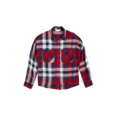 Girl's Treasure & Bond Oversize Pocket Plaid Shirt (37 CAD) ❤ liked on Polyvore featuring tops, red chili tartan, net shirt, white pocket shirt, white top, net tops and pocket shirts