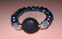 Essential Oil Beaded Bracelet, Lava Stone Bracelet Balancing Energier Diffuser Bracelet Amazomite, Blue Crystal Beads and Silvertone by TrendyCharm on Etsy