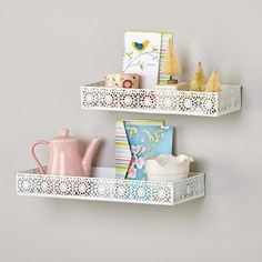 This pretty powder-coated iron shelf is stronger than it looks -- and it can turn dead wall space into a clever storage spot. #Bathroom #GetOrganized