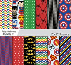 Digital Paper Pack - Little Super Heroes scrapbooking invitations paper crafts cards making web designs commercial use - INSTANT DOWNLOAD