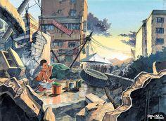 ㄹㄹ Scenery Background, Animation Background, Robot Story, Art Sketches, Art Drawings, Poster Color Painting, Graphic Novel Art, Cartoon Art Styles, Creative Artwork