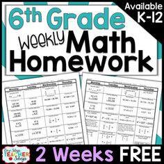 Need Spiral MATH HOMEWORK, DAILY MATH REVIEWS, or BELL RINGERS that will keep math concepts fresh all year?  This TOP-SELLING daily math review resource will do just that and more!This FREE product contains 2 WEEKS of Common Core math homework sheets covering the first two weeks of 6th grade!