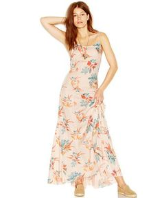 Free People Go To Gauze Spaghetti-Strap Floral-Print Star Chasing Maxi Slip Dress - Dresses - Women - Macy's