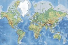 Wereldkaart - World Map Detailed Without Roads - Fotobehang & Behang - Photowall