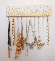 Gold Polka Dot White Jewelry Hanger / Accessory by TradeFare