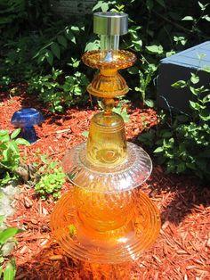 Solar Light Golden Glass Totem