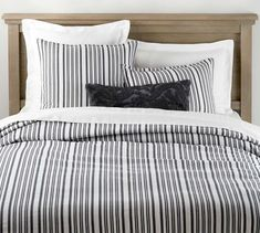 With its crisp, smooth finish, the Antique Stripe Duvet Cover & Shams is a versatile choice for your bedroom decor. The cool-to-the-touch bedding adds just the right layer. Bedroom Furniture, Home Furniture, Bedroom Decor, Master Bedroom, Bedroom Ideas, Linen Duvet, Cotton Duvet, Pottery Barn, Organic Duvet Covers