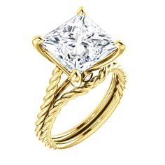 10kt Yellow Gold 10mm Center Cubic Zirconia Princess Cut and 2 Accent Diamond  Bridal Ring Set...(ST122676:988:P).! Price: $399.99  #10kt #yellowgold #gold #ring #cubiczirconia