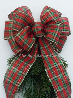 Country Plaid Christmas Bow, Red Green Gold Plaid Christmas Bow, SimplyAdornments Bow