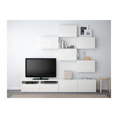 BESTÅ TV-Möbel, Kombination, weiß, Selsviken Hochglanz/weiß weiß/Selsviken Hochglanz/weiß 240x20/40x204 cm Schubladenschiene, Drucksystem