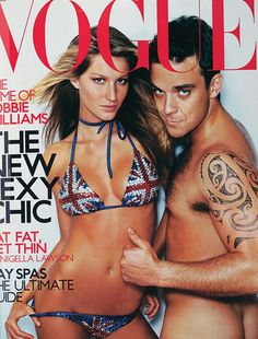 Gisele Bundchen - OCTOBER 2000 - On the cover of British Vogue with Robbie Williams.