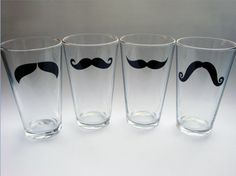 Moustache Pint Glasses  Variety of Colors and by modernmadness, $28.00