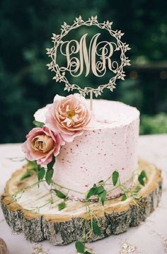 Rustic chic simple pink wedding cake; Featured Cake: Best Wedd Ever via Etsy