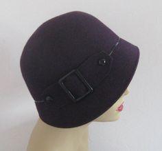 purple cloche . plum cloche . purple felt cloche .made in