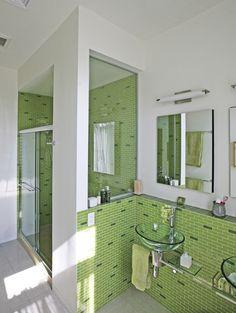 Light Green Bathroom with Subway Tile