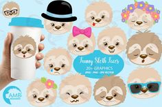 Sloth Faces Clipart (Graphic) by AMBillustrations · Creative Fabrica Invitation Cards, Party Invitations, Invites, Image Paper, Kawaii, Magical Unicorn, Project Yourself, Favor Tags, Funny Faces