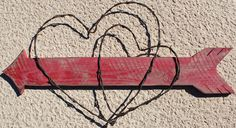 Barbed Wire Hearts and Arrow by WhatWeMade on Etsy
