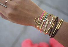 diy: leather cord & bead bracelets